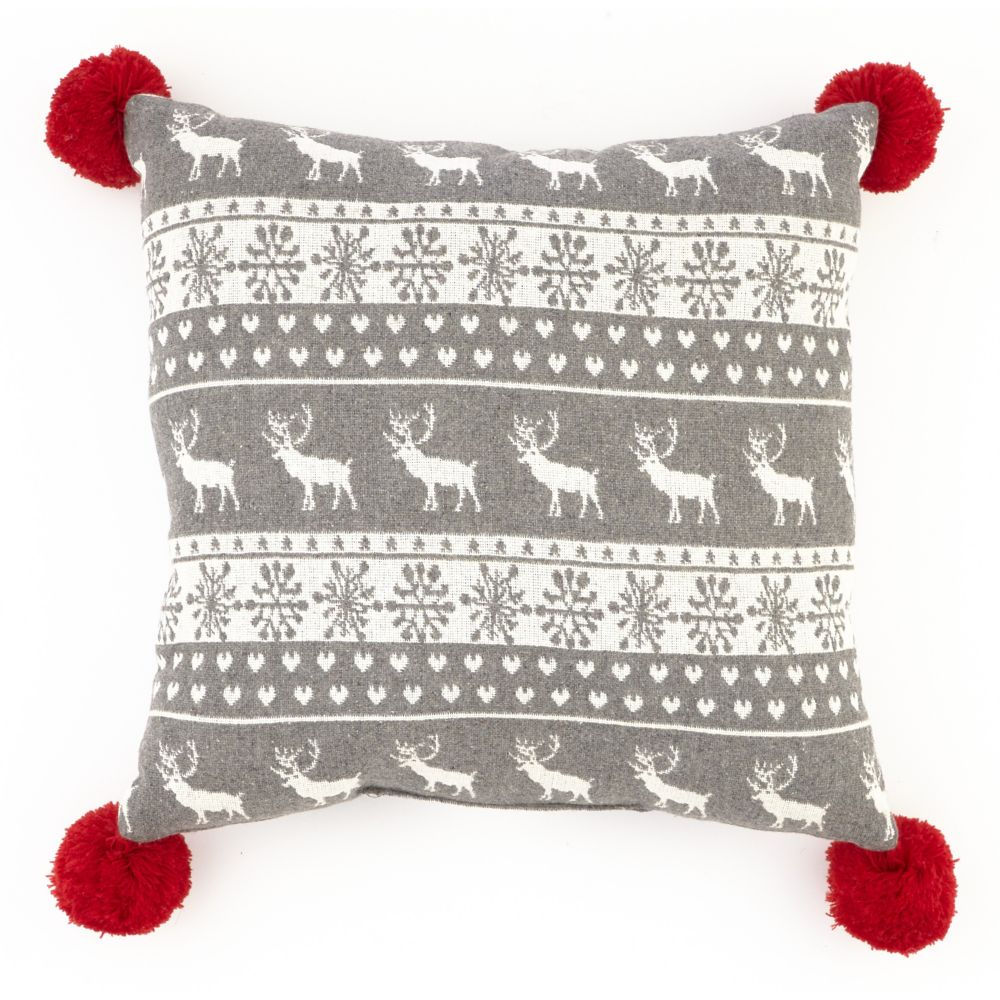 CANVAS Fairisle Cushion with Pom-Poms
