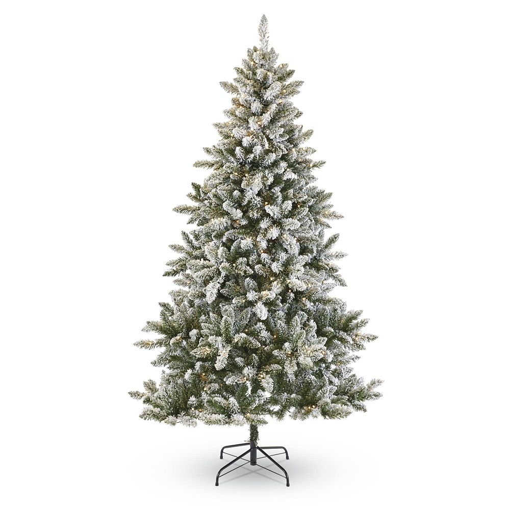 NOMA Colour-Changing Flocked Cypress Christmas Tree, 7-ft