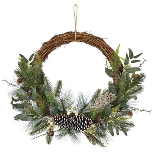 CANVAS Half Greenery Wreath, 20-in