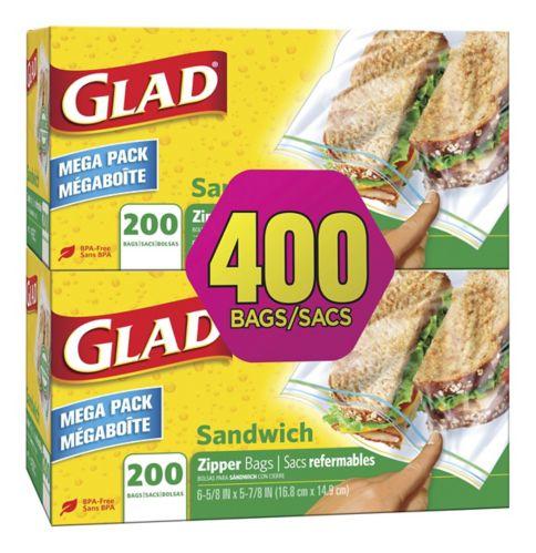 Glad® Sandwich Zipper Bags, 2 x 200-ct Product image