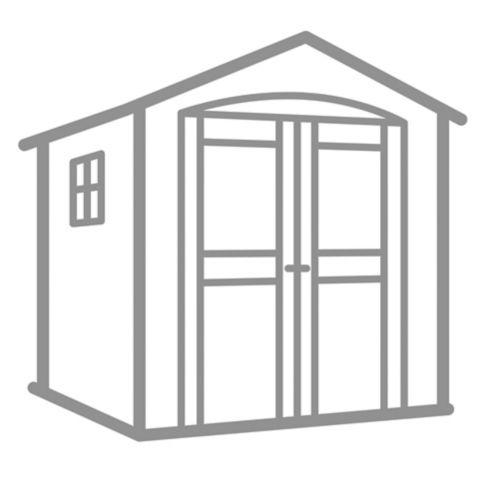 Installation de base d'une remise de jardin en métal + base
