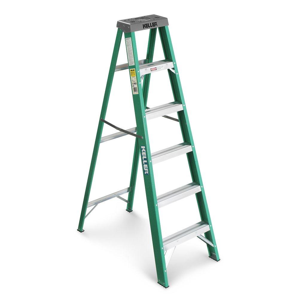 Keller Fibreglass Step Ladder, Grade 2, 6-ft