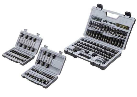 Stanley 99-pc Professional Grade Socket Set with Bonus Stanley 26-pc Torx Bit Set & Stanley 27-pc Hex Bit Set Product image
