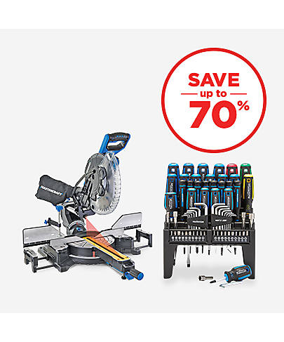 Save up to 70% Tools & Hardware