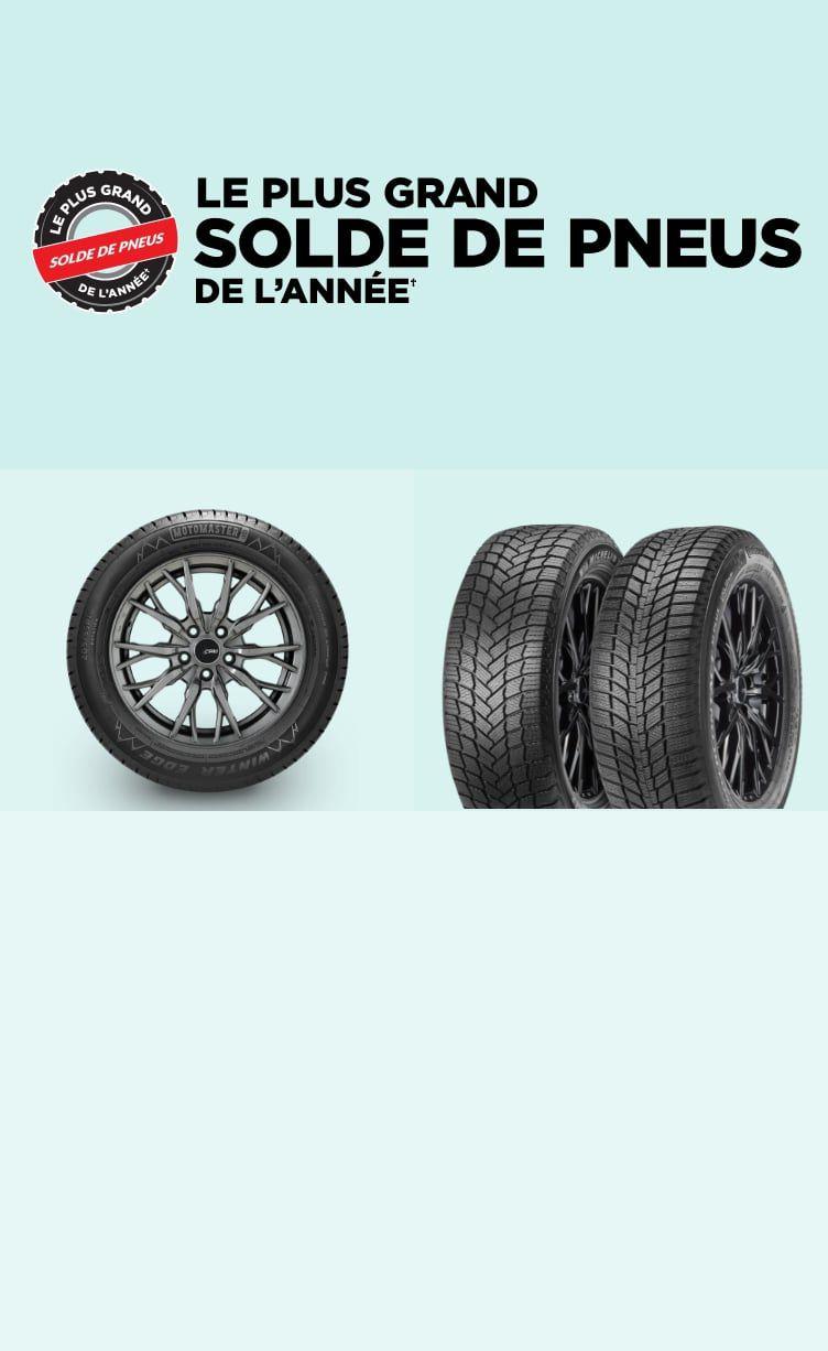 JUSQU'À 25 % DE RABAIS.  Préparez votre véhicule à prendre la route grâce à des offres sur les meilleures marques de pneus, dont Michelin, Bridgestone, Goodyear et Continental.