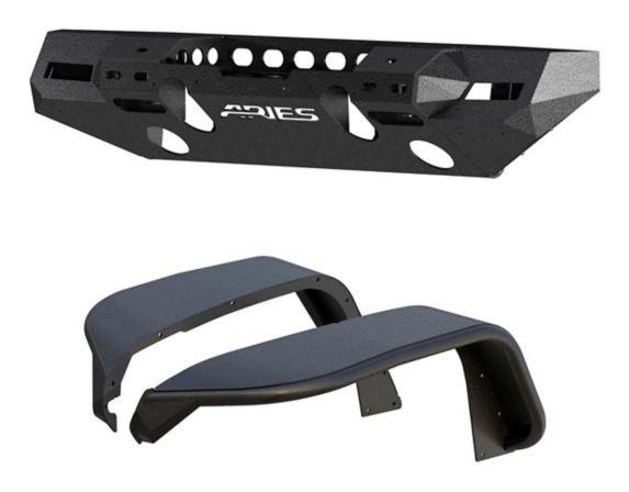Pare-chocs avant en aluminium ARIES TrailChaser avec élargisseurs d'aile (option 7), Jeep JL Image de l'article
