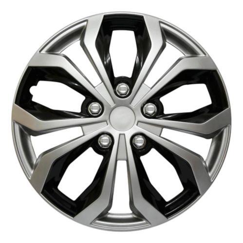 AutoTrends Shaft Wheel Cover, Silver/Black, 18-in, 4-pk Product image