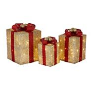 CANVAS LED Golden Charm Gifts Decoration, 3-pk