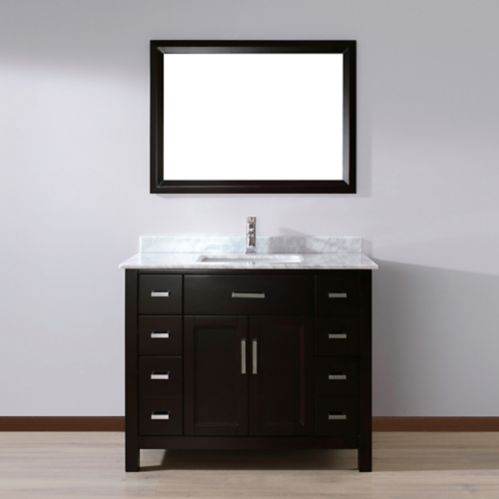 Meuble-lavabo Urban Bathe Kelly avec dessus en marbre naturel, espresso/Carrare, 42 po Image de l'article