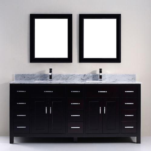 Urban Bathe Chloe Bathroom Vanity with Natural Marble Top, Espresso/Carrera, 75-in Product image