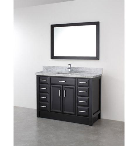 Urban Bathe Callan Bathroom Vanity with Natural Marble Top, Espresso/Carrera, 48-in Product image