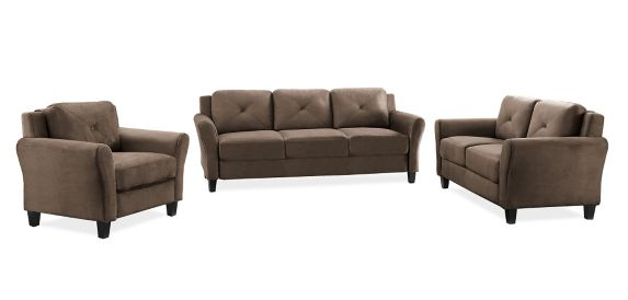 Hartford Rolled Arm Sofa Set, Brown, 3-pc Product image
