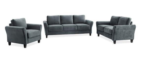 Westin Rolled Arm Sofa Set, Dark Grey, 3-pc Product image