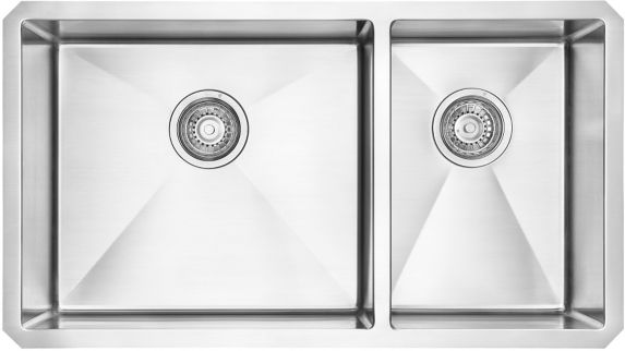 Évier de cuisine sous comptoir combiné à 2 profondeurs Kindred Designer, 32 po Image de l'article