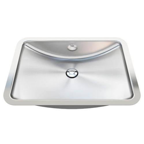 Lavabo arrondi de salle de bain monté sous comptoir au fini soyeux éclatant Kindred Image de l'article