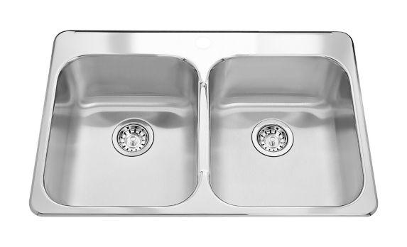 Évier de cuisine double à monture supérieure Kindred Steel Queen, 8 po de profondeur Image de l'article