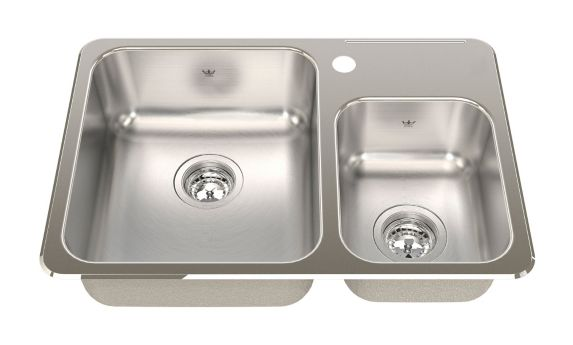 Kindred Steel Queen Kitchen Top Mount Combination Double Sink, 26 1/2-in Product image