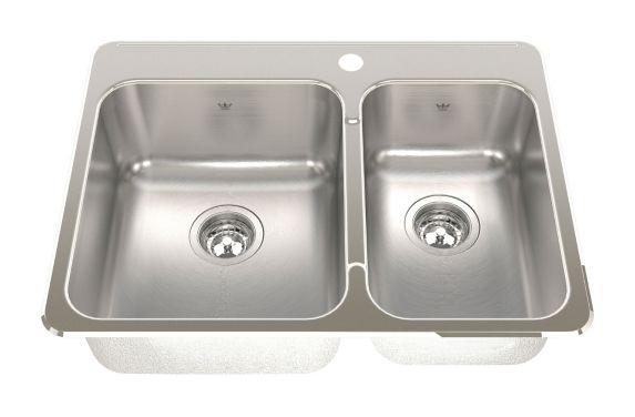 Kindred Steel Queen Kitchen Various Depth Top mount Combination Sink Product image