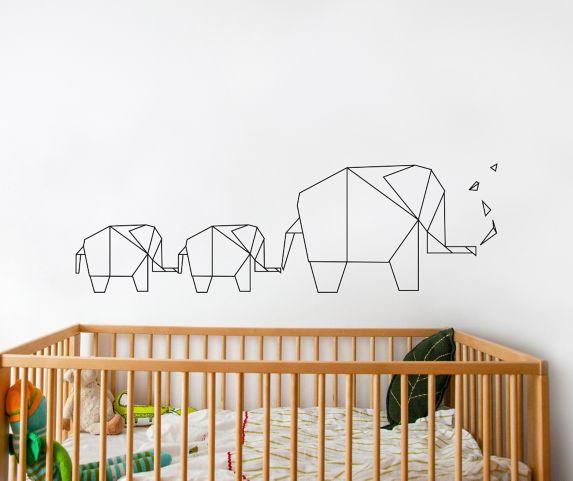 Décalcomanie pour enfants d'éléphants en origamis Adzif Image de l'article