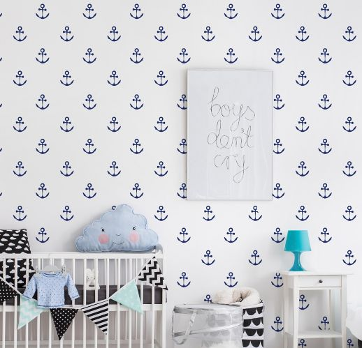 Adzif Blue Anchors Aweigh Wall Pattern Decal Product image