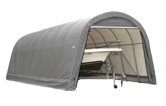 Shelter Logic Round Style Shelter, 14-ft x 24-ft x12-ft, Grey Product image