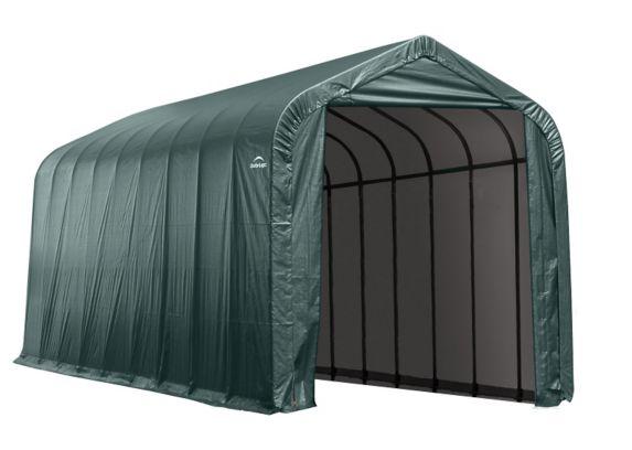 Abri à toit pointu ShelterLogic, 14 x 44 x 16 pi, vert Image de l'article