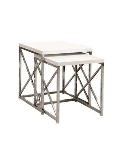 Tables gigognes avec pattes croisées chromées Monarch, paq. 2 Image de l'article