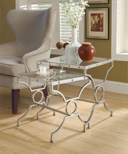 Tables gigognes avec plateau en verre Monarch, 2 pces Image de l'article