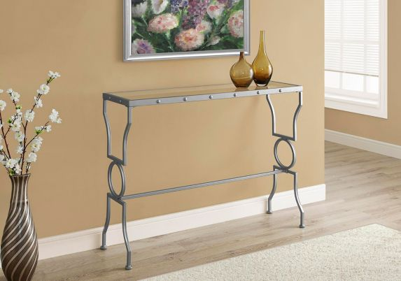 Monarch Rectangle Metal Hallway Table with Glass Top Product image