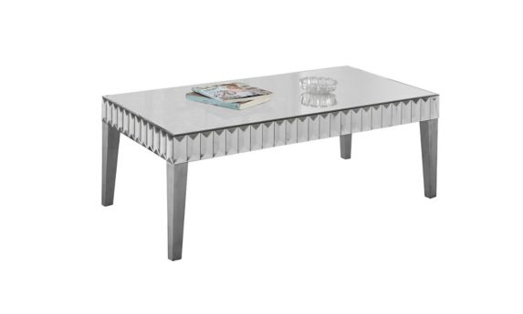 Monarch Silver Brushed Edged Mirror Finished Coffee Table Product image