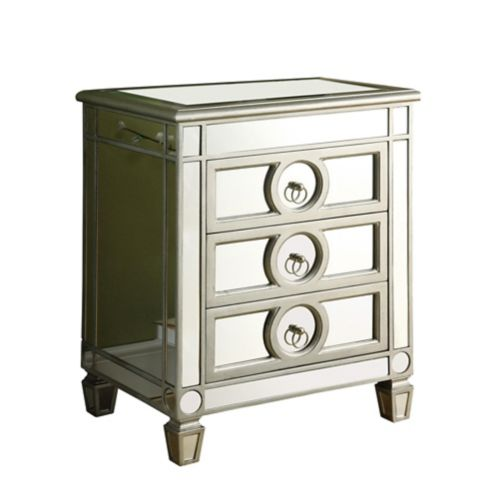 Monarch Silver Brushed Mirror Finished 3-Drawer Accent Table, 27-in Product image