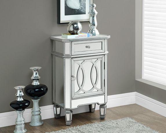 Table d'appoint en argent miroir Monarch avec armoire et tiroir Image de l'article
