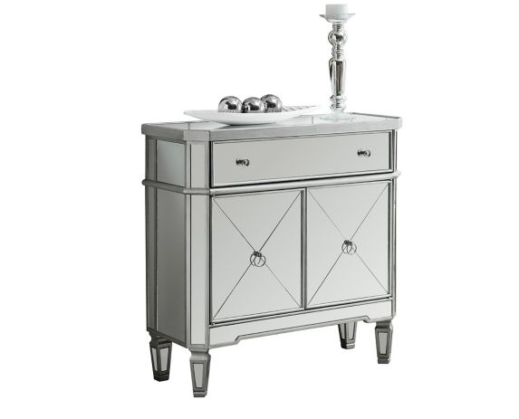 Monarch Silver Mirror Finish End Table with Cabinet & Drawer Product image