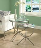 Monarch Round Metal Living Table with Glass Top, 2-pc   Monarchnull