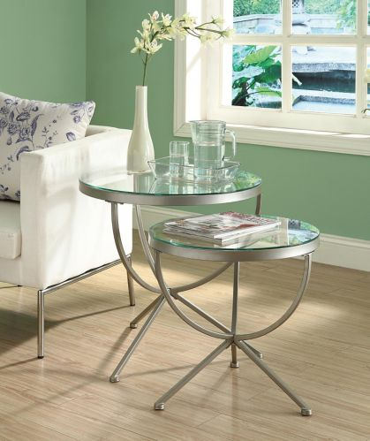 Monarch Round Metal Living Table with Glass Top, 2-pc Product image