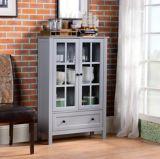 Homestar Miranda 2-Door Glass Cabinet, Grey | Homestarnull
