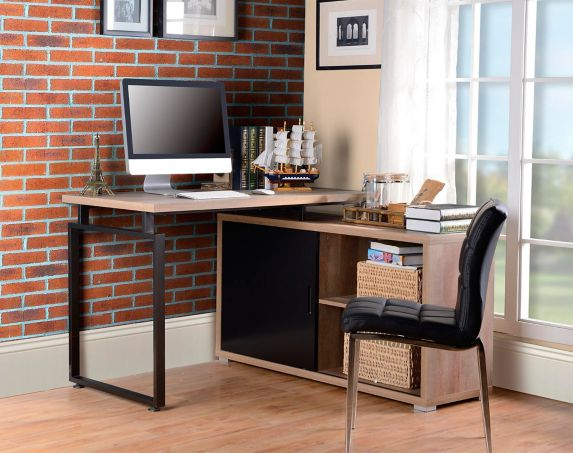 Homestar L-Shaped Desk with Sliding Door Bookcase Duo Product image