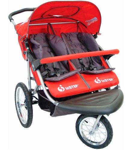 In-Step Safari TT Double Jogger 3-Wheel Stroller, Red Product image