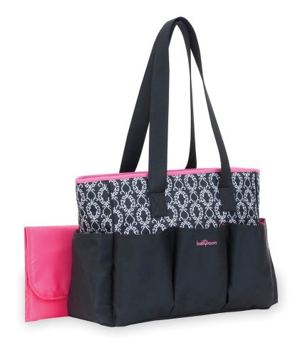 Baby Boom 6-Pocket Tote Diaper Bag, Black with Pink Trim Product image