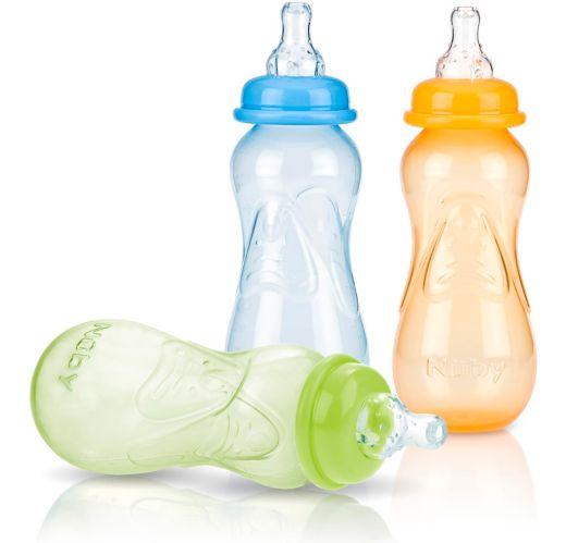 Nuby No-Spill Bottle, Orange/Green/Blue, 3-pk Product image