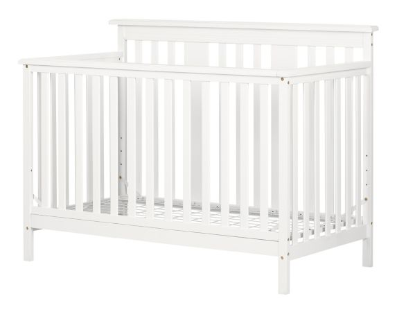 South Shore Little Smileys Modern Baby Crib, Adjustable Height Mattress with Toddler Rail, Pure White Product image