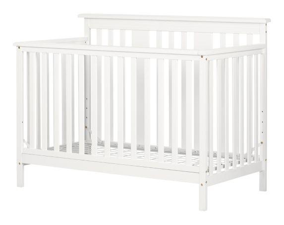 Lit de bébé moderne South Shore Little Smileys avec matelas à hauteur réglable et barrière de transition, blanc uni Image de l'article