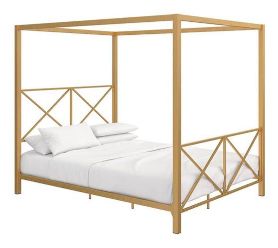 Dorel TeenB Metal Queen Canopy Bed, Gold Product image