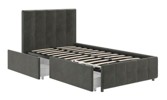 Dorel TeenB Velvet Upholstered Bed with Storage, Grey Product image