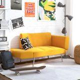 Dorel TeenB Euro Futon with Magazine Storage, Mustard | Dorelnull