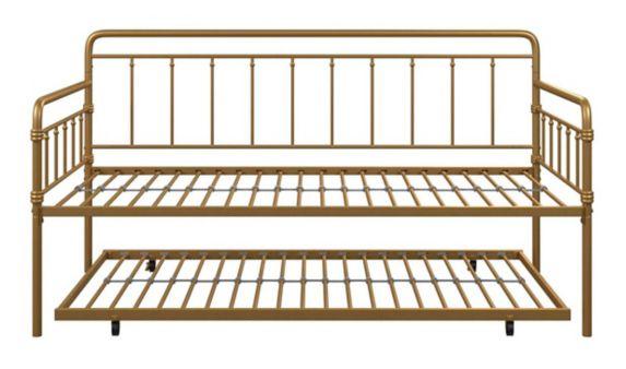 Lit de repos 1 place en métal Dorel TeenB, système de tiroir, or Image de l'article