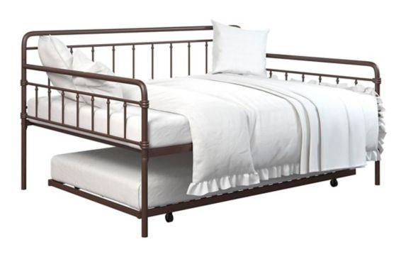 Lit de repos à deux places en métal Dorel TeenB, système de tiroir, bronze Image de l'article