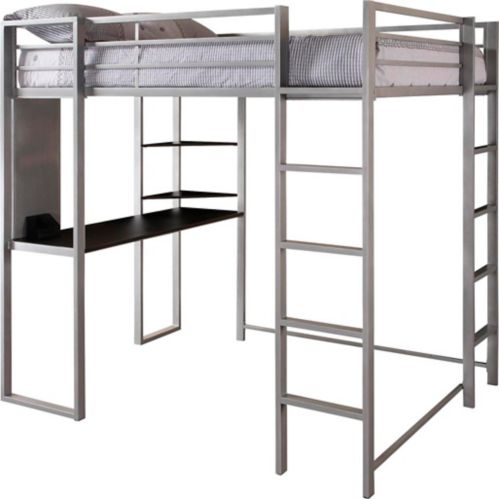 Dorel Kool Full Size Loft Bed with Desk, Silver Product image