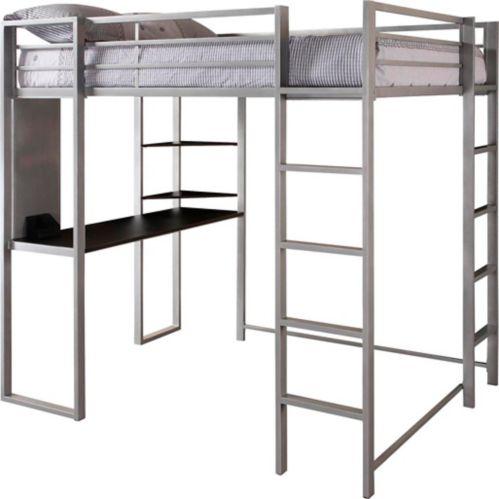 Lit mezzanine Dorel Kool avec bureau, 2 places, argent Image de l'article