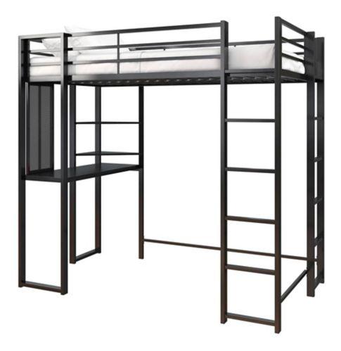 Lit mezzanine Dorel Kool avec bureau, 1 place, noir Image de l'article